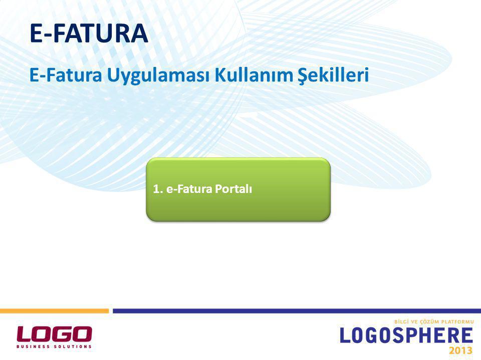 E-FATURA E-Fatura Uygulaması Kullanım Şekilleri 1. e-Fatura Portalı