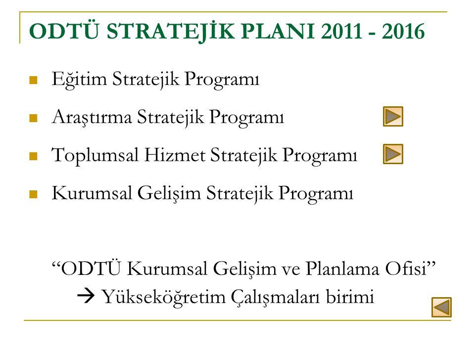 ODTÜ STRATEJİK PLANI 2011 - 2016 Eğitim Stratejik Programı