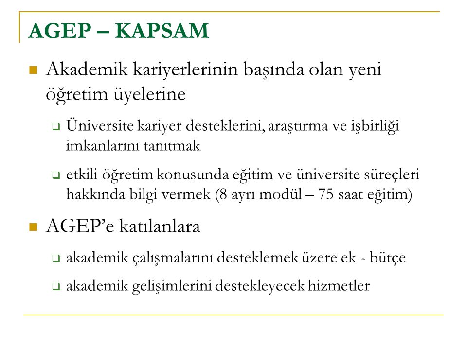 AGEP – KAPSAM Akademik kariyerlerinin başında olan yeni öğretim üyelerine.