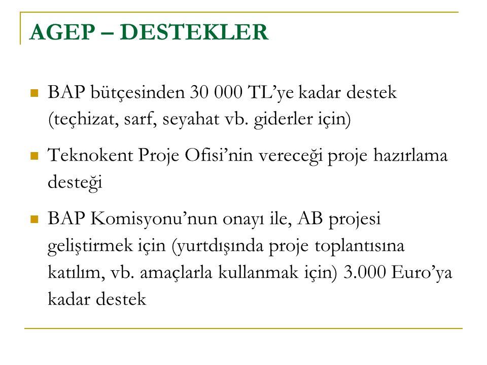 AGEP – DESTEKLER BAP bütçesinden 30 000 TL'ye kadar destek (teçhizat, sarf, seyahat vb. giderler için)