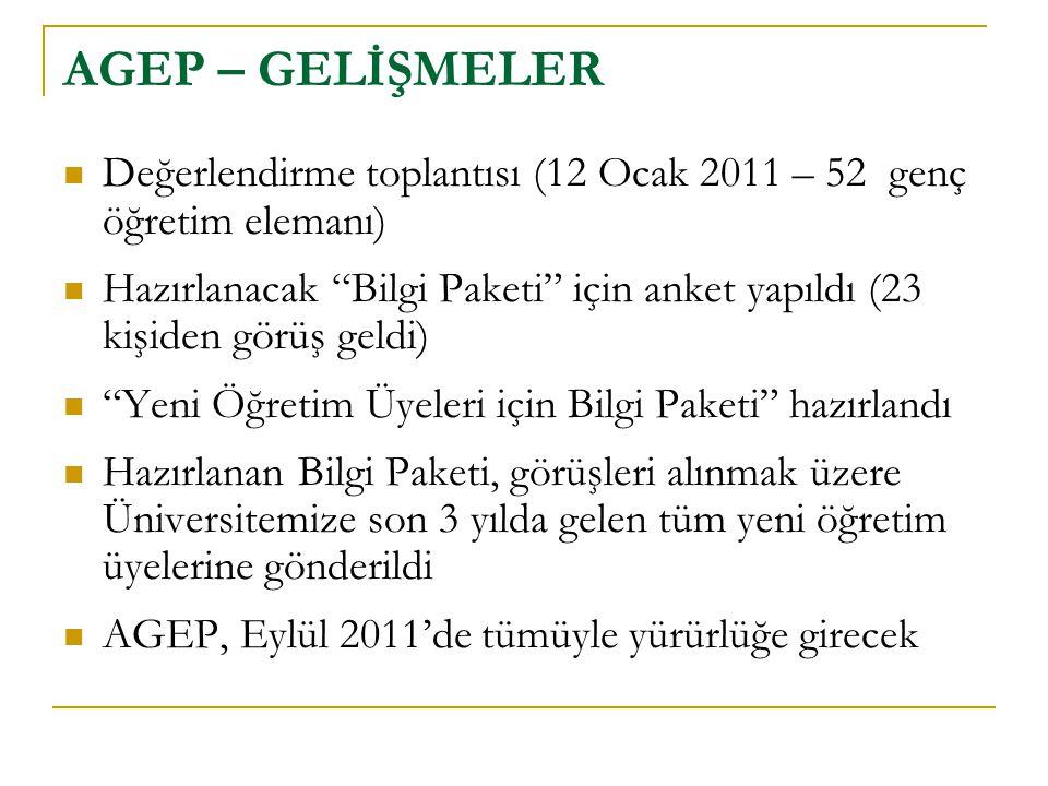AGEP – GELİŞMELER Değerlendirme toplantısı (12 Ocak 2011 – 52 genç öğretim elemanı)