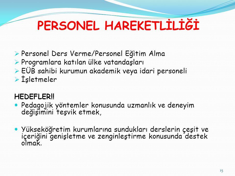 PERSONEL HAREKETLİLİĞİ