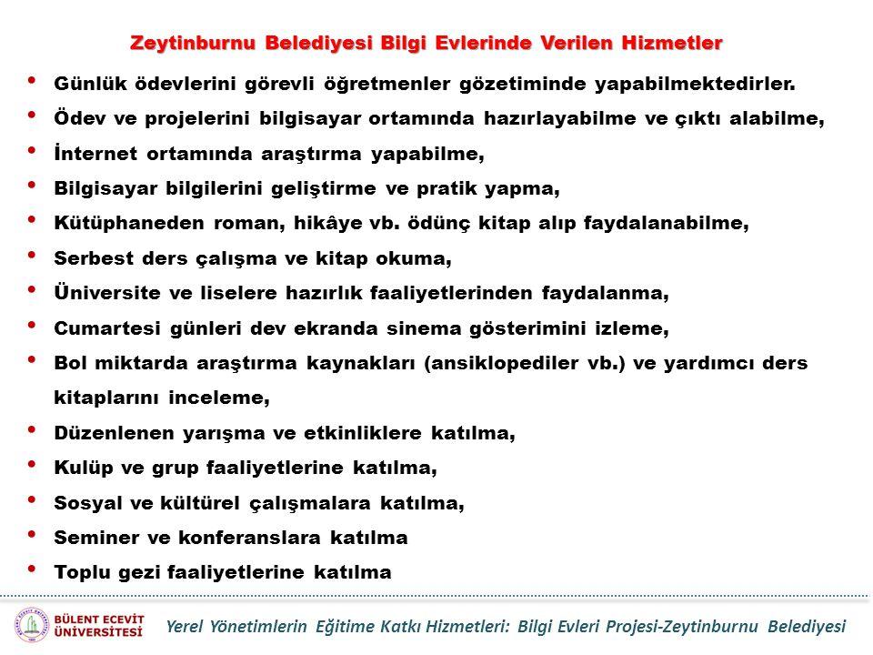Zeytinburnu Belediyesi Bilgi Evlerinde Verilen Hizmetler
