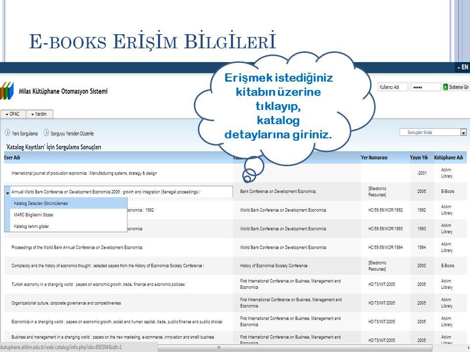 E-books Erİşİm Bİlgİlerİ