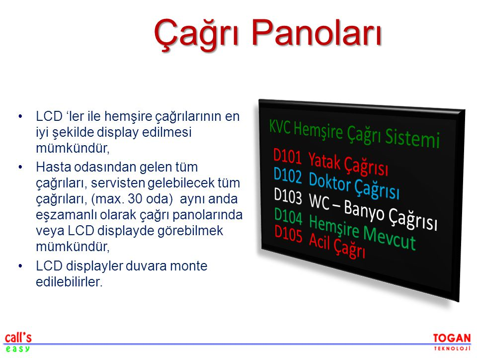 Çağrı Panoları KVC Hemşire Çağrı Sistemi D101 Yatak Çağrısı