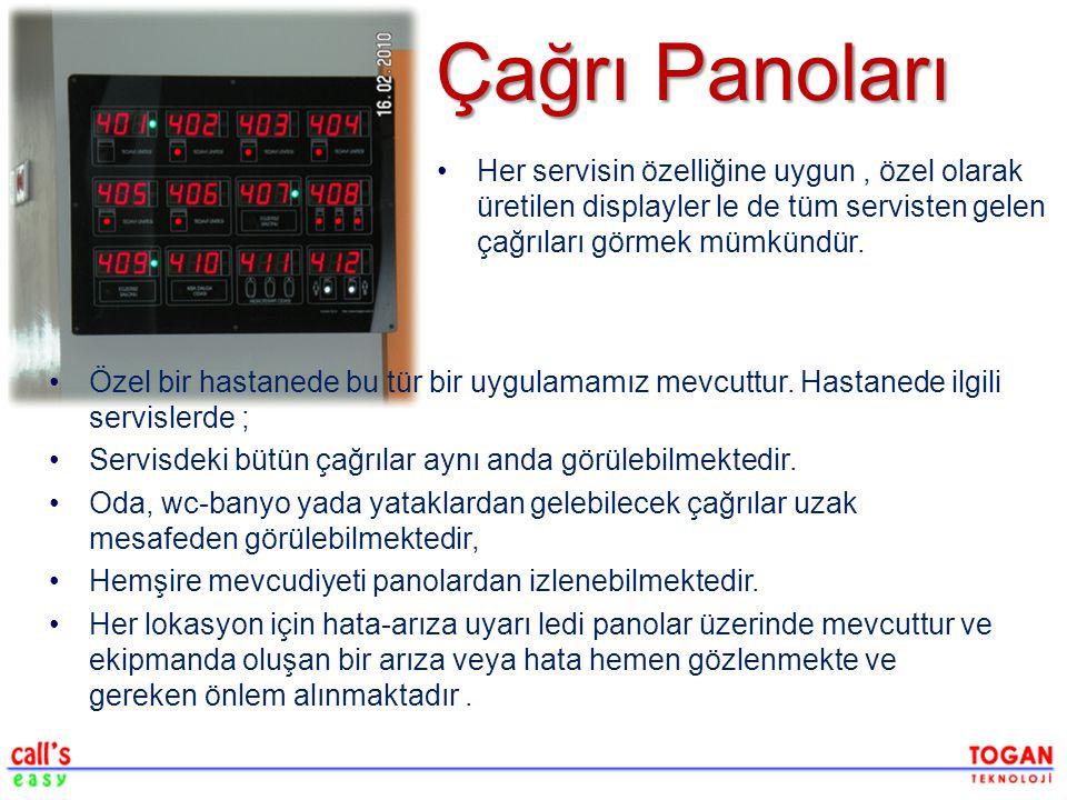 Çağrı Panoları Her servisin özelliğine uygun , özel olarak üretilen displayler le de tüm servisten gelen çağrıları görmek mümkündür.