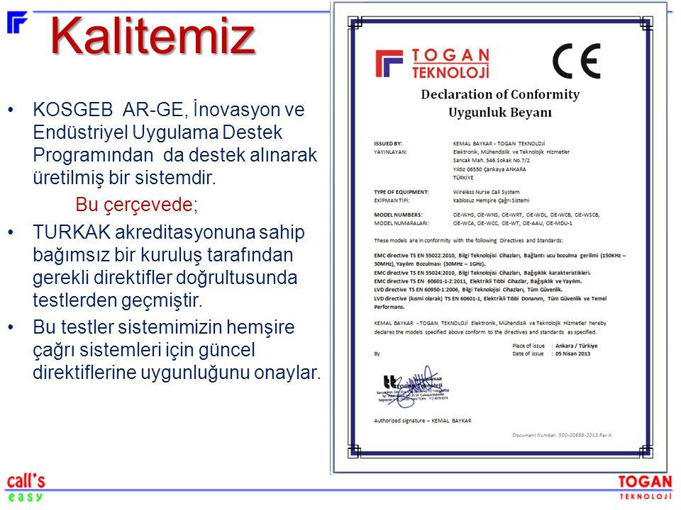 Kalitemiz KOSGEB AR-GE, İnovasyon ve Endüstriyel Uygulama Destek Programından da destek alınarak üretilmiş bir sistemdir.