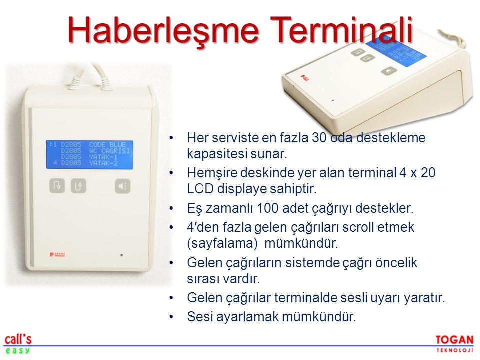 Haberleşme Terminali Her serviste en fazla 30 oda destekleme kapasitesi sunar. Hemşire deskinde yer alan terminal 4 x 20 LCD displaye sahiptir.