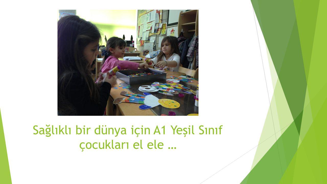 Sağlıklı bir dünya için A1 Yeşil Sınıf çocukları el ele …