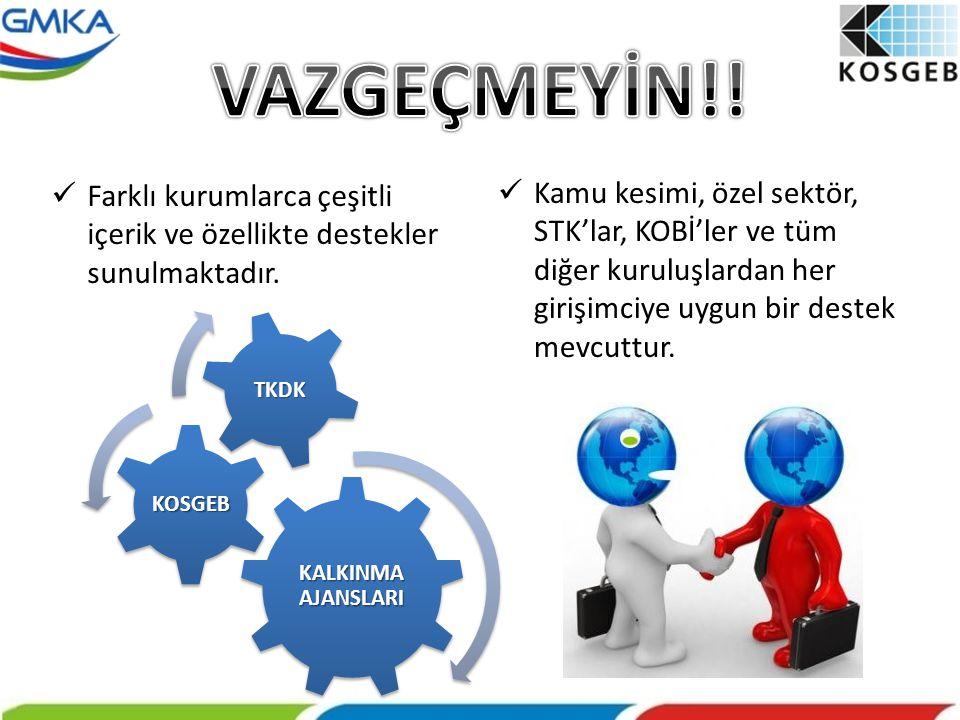 VAZGEÇMEYİN!! Farklı kurumlarca çeşitli içerik ve özellikte destekler sunulmaktadır.