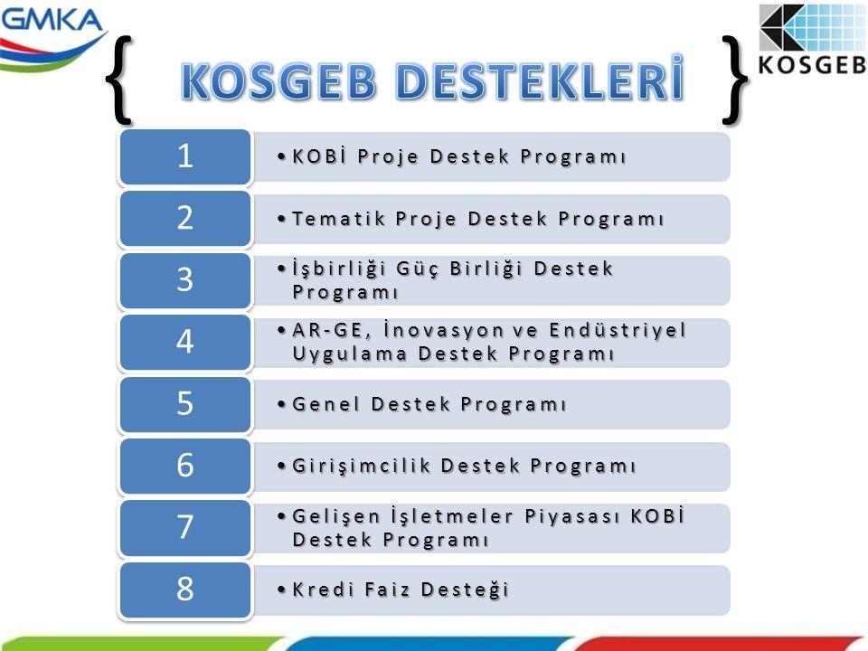 { } KOSGEB DESTEKLERİ 1 2 3 4 5 6 7 8 KOBİ Proje Destek Programı