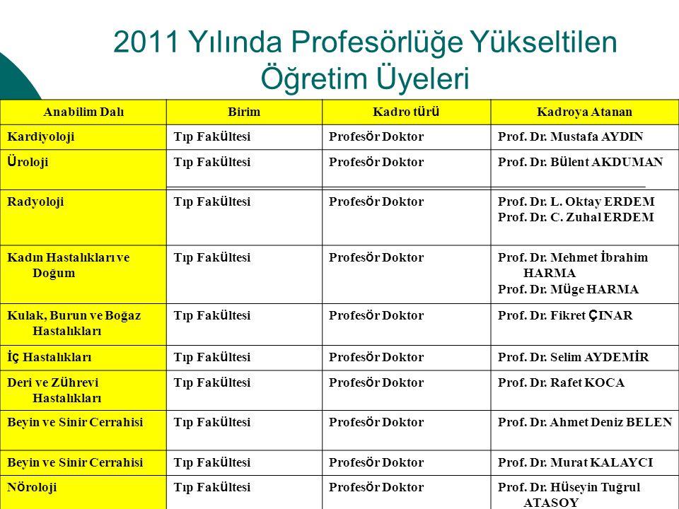 2011 Yılında Profesörlüğe Yükseltilen Öğretim Üyeleri