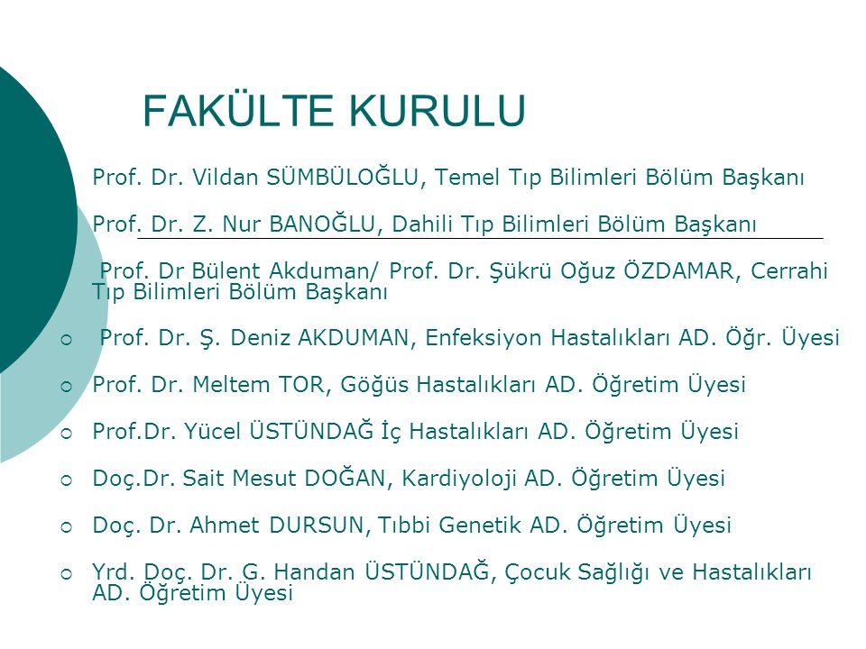 FAKÜLTE KURULU Prof. Dr. Vildan SÜMBÜLOĞLU, Temel Tıp Bilimleri Bölüm Başkanı. Prof. Dr. Z. Nur BANOĞLU, Dahili Tıp Bilimleri Bölüm Başkanı.