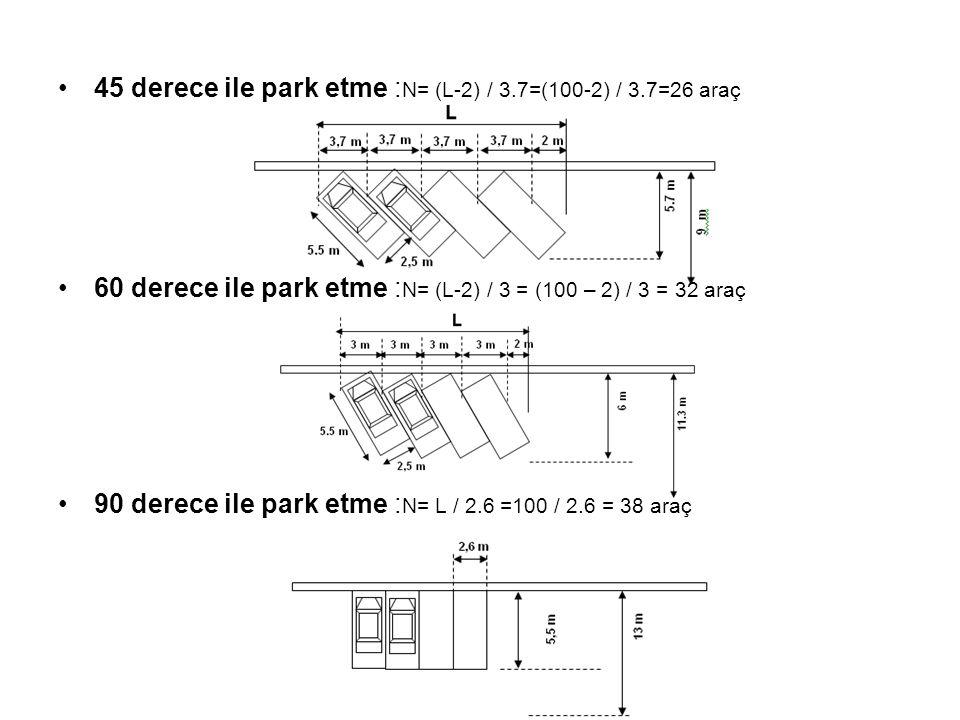 45 derece ile park etme :N= (L-2) / 3.7=(100-2) / 3.7=26 araç