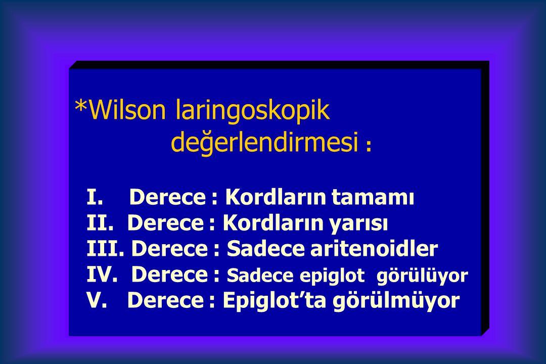 *Wilson laringoskopik değerlendirmesi : I.