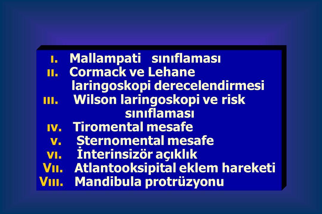 ı. Mallampati sınıflaması ıı. Cormack ve Lehane