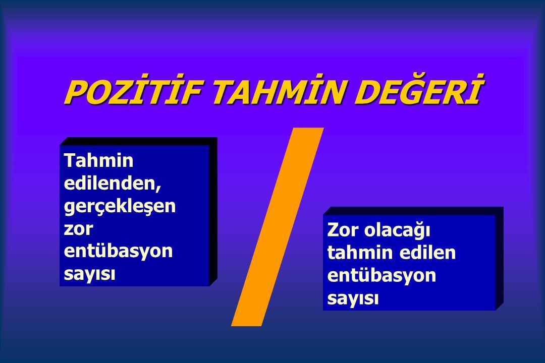 POZİTİF TAHMİN DEĞERİ / Tahmin edilenden, gerçekleşen zor entübasyon sayısı.