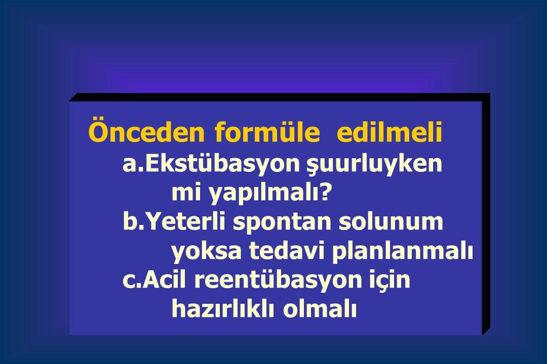 Önceden formüle edilmeli. a. Ekstübasyon şuurluyken. mi yapılmalı. b