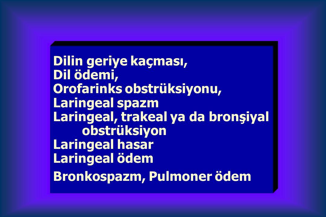 Dilin geriye kaçması, Dil ödemi, Orofarinks obstrüksiyonu, Laringeal spazm Laringeal, trakeal ya da bronşiyal obstrüksiyon Laringeal hasar Laringeal ödem Bronkospazm, Pulmoner ödem