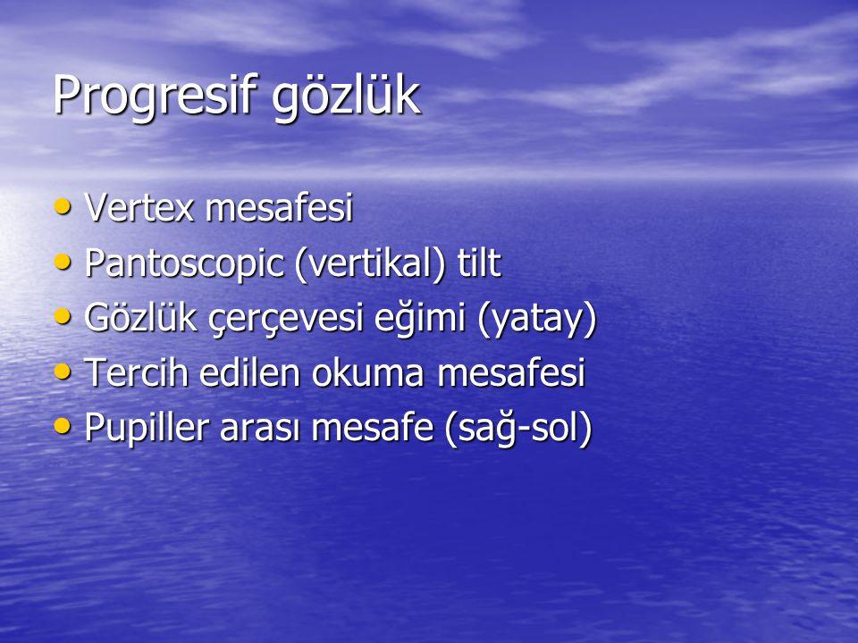 Progresif gözlük Vertex mesafesi Pantoscopic (vertikal) tilt