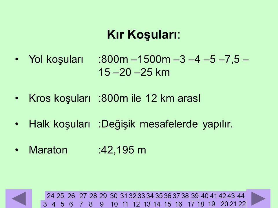 Kır Koşuları: Yol koşuları :800m –1500m –3 –4 –5 –7,5 – 15 –20 –25 km