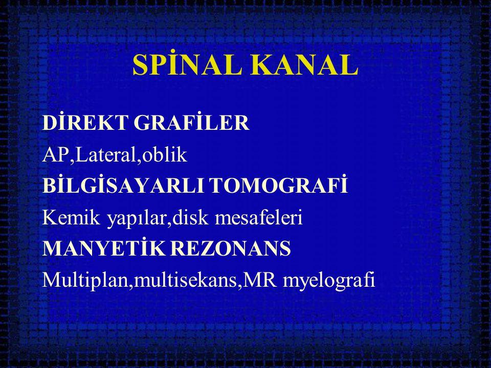 SPİNAL KANAL DİREKT GRAFİLER AP,Lateral,oblik BİLGİSAYARLI TOMOGRAFİ