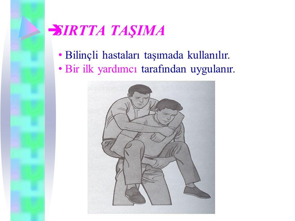 SIRTTA TAŞIMA Bilinçli hastaları taşımada kullanılır.