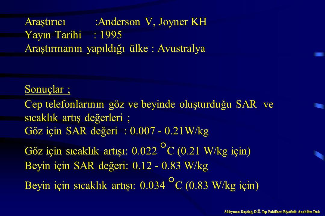Araştırıcı :Anderson V, Joyner KH Yayın Tarihi : 1995 Araştırmanın yapıldığı ülke : Avustralya Sonuçlar ; Cep telefonlarının göz ve beyinde oluşturduğu SAR ve sıcaklık artış değerleri ; Göz için SAR değeri : 0.007 - 0.21W/kg Göz için sıcaklık artışı: 0.022 C (0.21 W/kg için) Beyin için SAR değeri: 0.12 - 0.83 W/kg Beyin için sıcaklık artışı: 0.034 C (0.83 W/kg için)