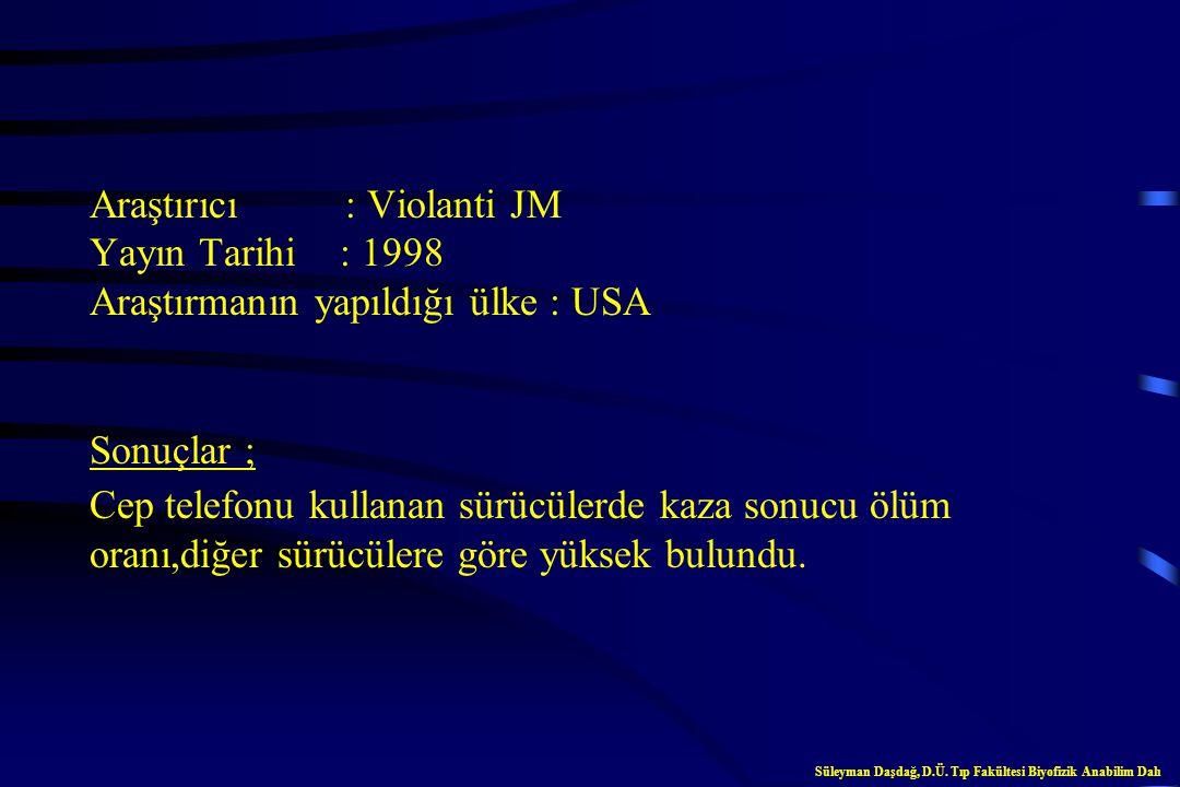Araştırıcı : Violanti JM Yayın Tarihi : 1998 Araştırmanın yapıldığı ülke : USA Sonuçlar ; Cep telefonu kullanan sürücülerde kaza sonucu ölüm oranı,diğer sürücülere göre yüksek bulundu.