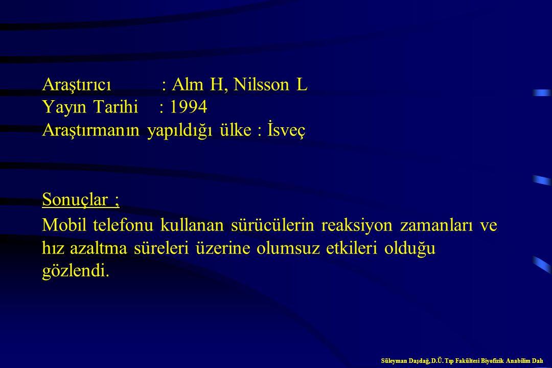 Araştırıcı : Alm H, Nilsson L Yayın Tarihi : 1994 Araştırmanın yapıldığı ülke : İsveç Sonuçlar ; Mobil telefonu kullanan sürücülerin reaksiyon zamanları ve hız azaltma süreleri üzerine olumsuz etkileri olduğu gözlendi.