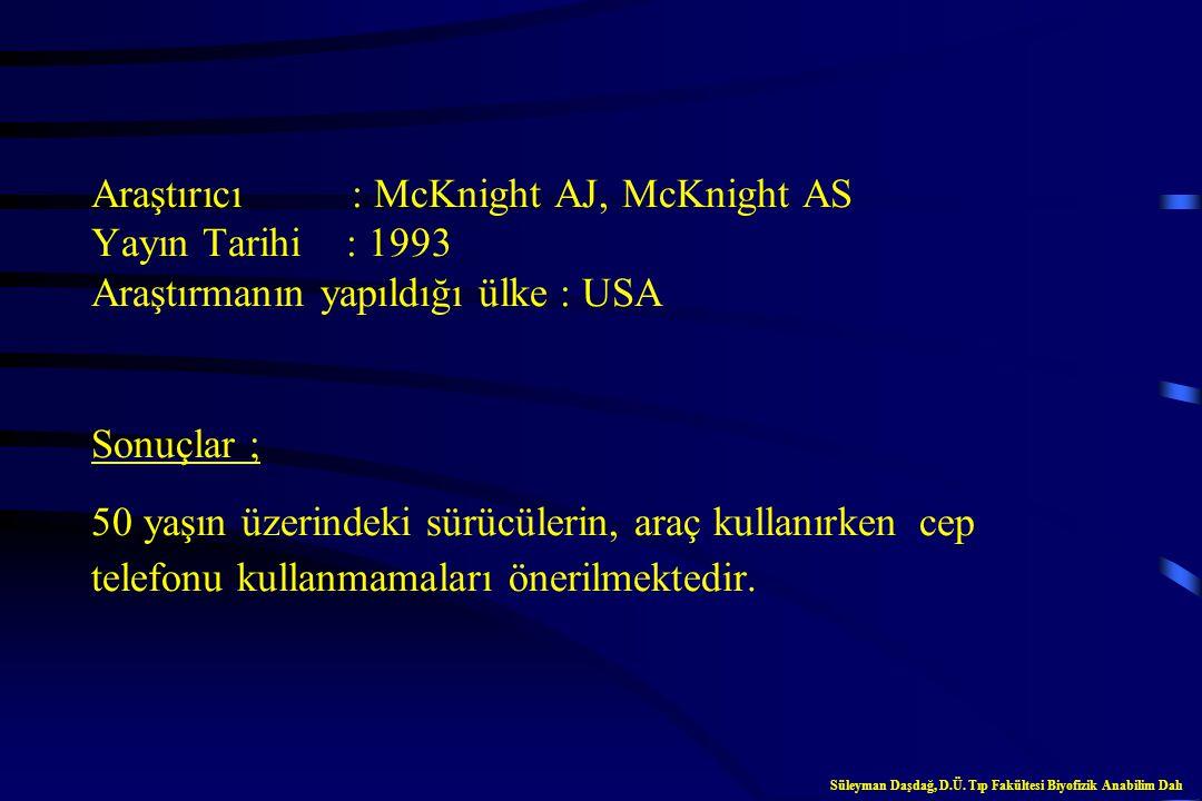 Araştırıcı : McKnight AJ, McKnight AS Yayın Tarihi : 1993 Araştırmanın yapıldığı ülke : USA Sonuçlar ; 50 yaşın üzerindeki sürücülerin, araç kullanırken cep telefonu kullanmamaları önerilmektedir.