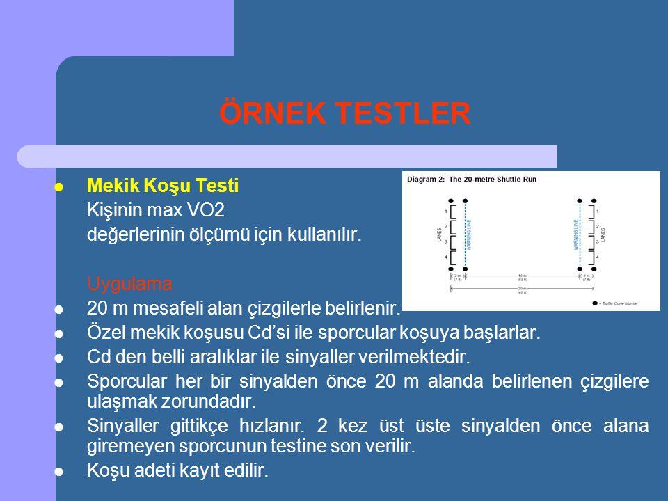 ÖRNEK TESTLER Mekik Koşu Testi Kişinin max VO2