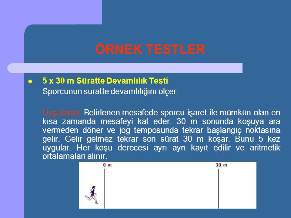 ÖRNEK TESTLER 5 x 30 m Süratte Devamlılık Testi