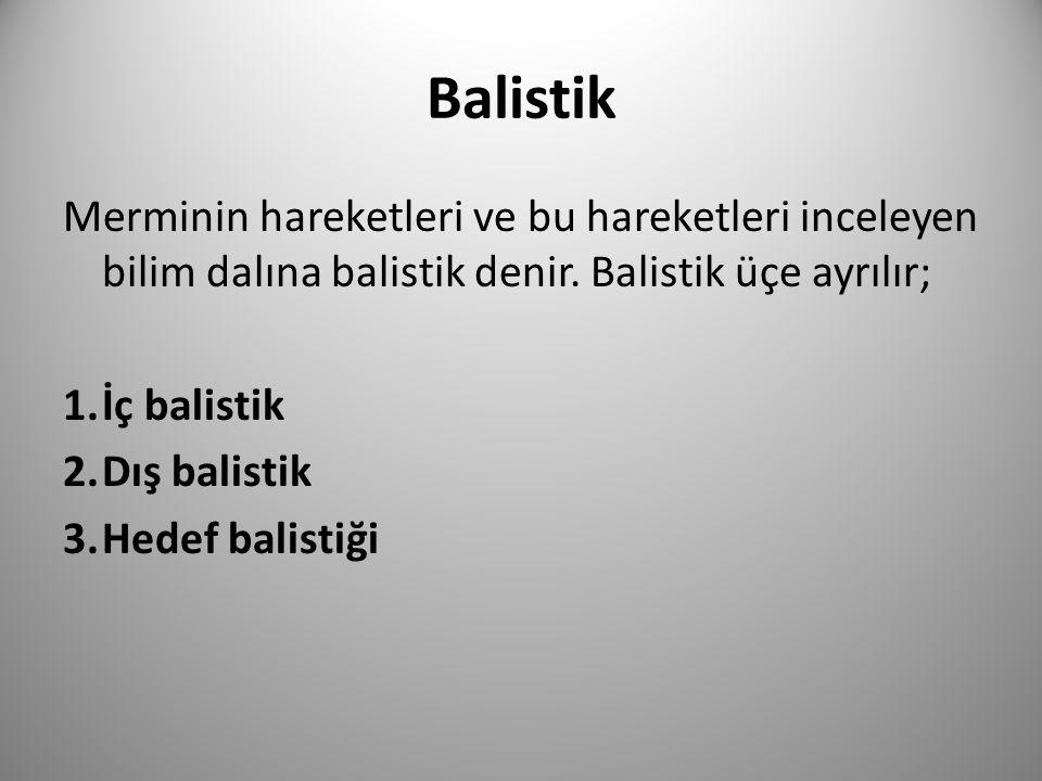 Balistik Merminin hareketleri ve bu hareketleri inceleyen bilim dalına balistik denir. Balistik üçe ayrılır;
