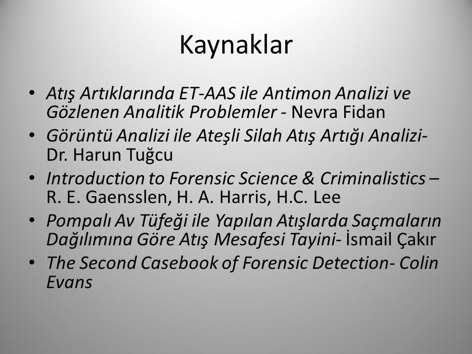 Kaynaklar Atış Artıklarında ET-AAS ile Antimon Analizi ve Gözlenen Analitik Problemler - Nevra Fidan.