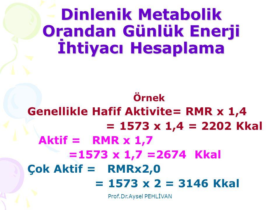 Dinlenik Metabolik Orandan Günlük Enerji İhtiyacı Hesaplama