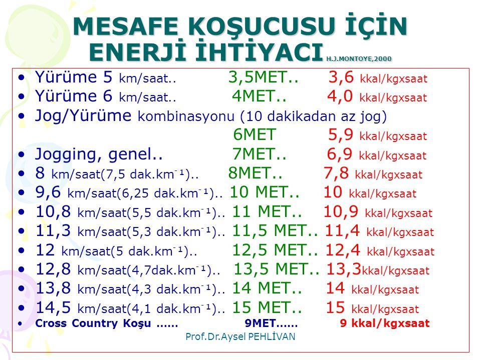 MESAFE KOŞUCUSU İÇİN ENERJİ İHTİYACI H.J.MONTOYE,2000