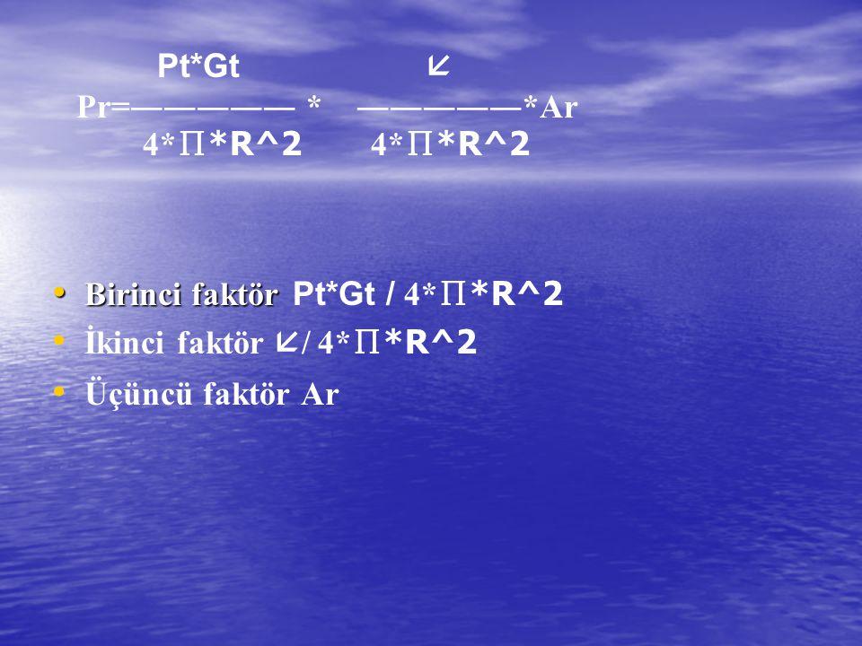 Pt*Gt  Pr=――――― * ―――――*Ar. 4*∏*R^2 4*∏*R^2. Birinci faktör Pt*Gt / 4*∏*R^2.