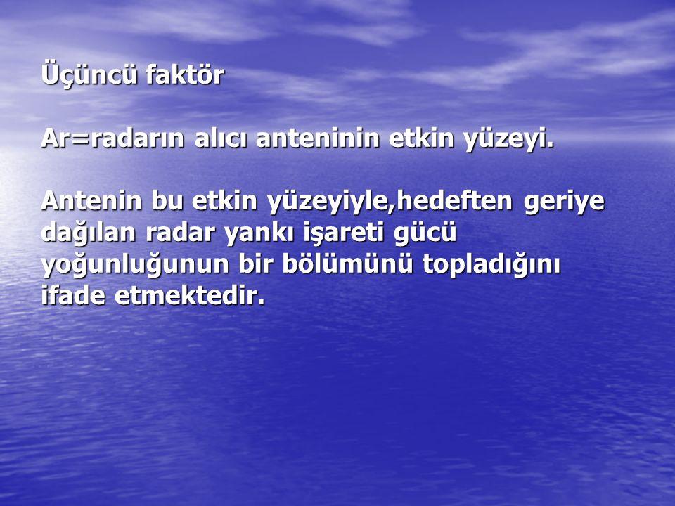 Üçüncü faktör Ar=radarın alıcı anteninin etkin yüzeyi