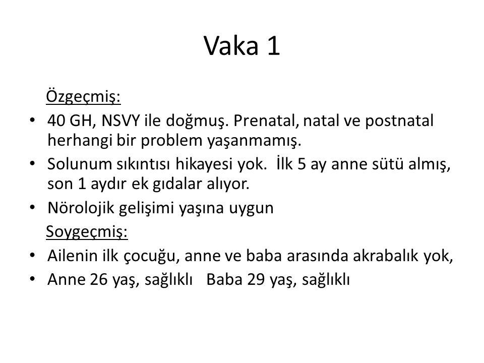 Vaka 1 Özgeçmiş: 40 GH, NSVY ile doğmuş. Prenatal, natal ve postnatal herhangi bir problem yaşanmamış.