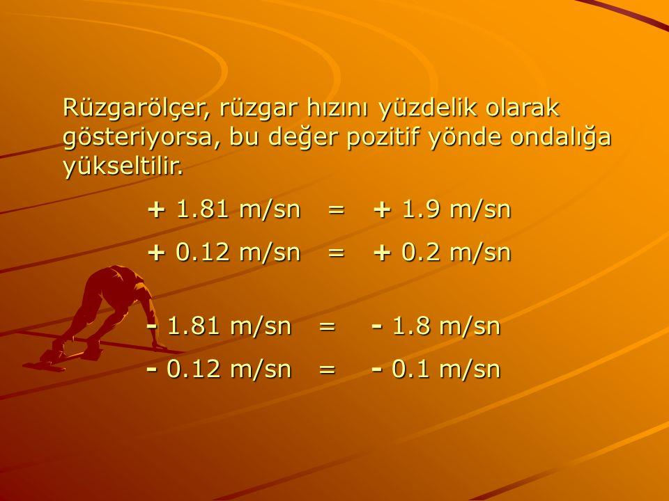 Rüzgarölçer, rüzgar hızını yüzdelik olarak gösteriyorsa, bu değer pozitif yönde ondalığa yükseltilir.