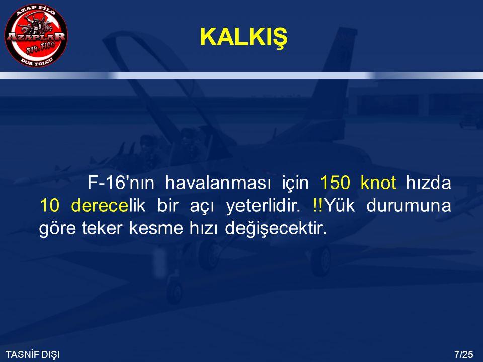F-16 nın havalanması için 150 knot hızda 10 derecelik bir açı yeterlidir.