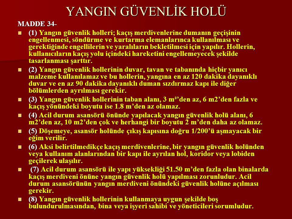 YANGIN GÜVENLİK HOLÜ MADDE 34-