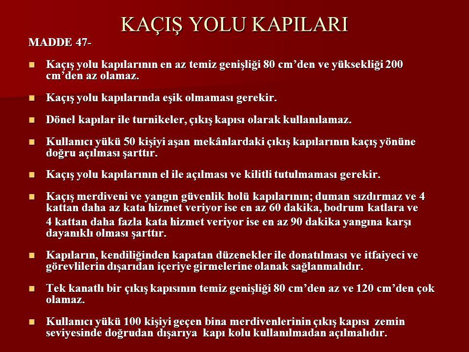 KAÇIŞ YOLU KAPILARI MADDE 47-