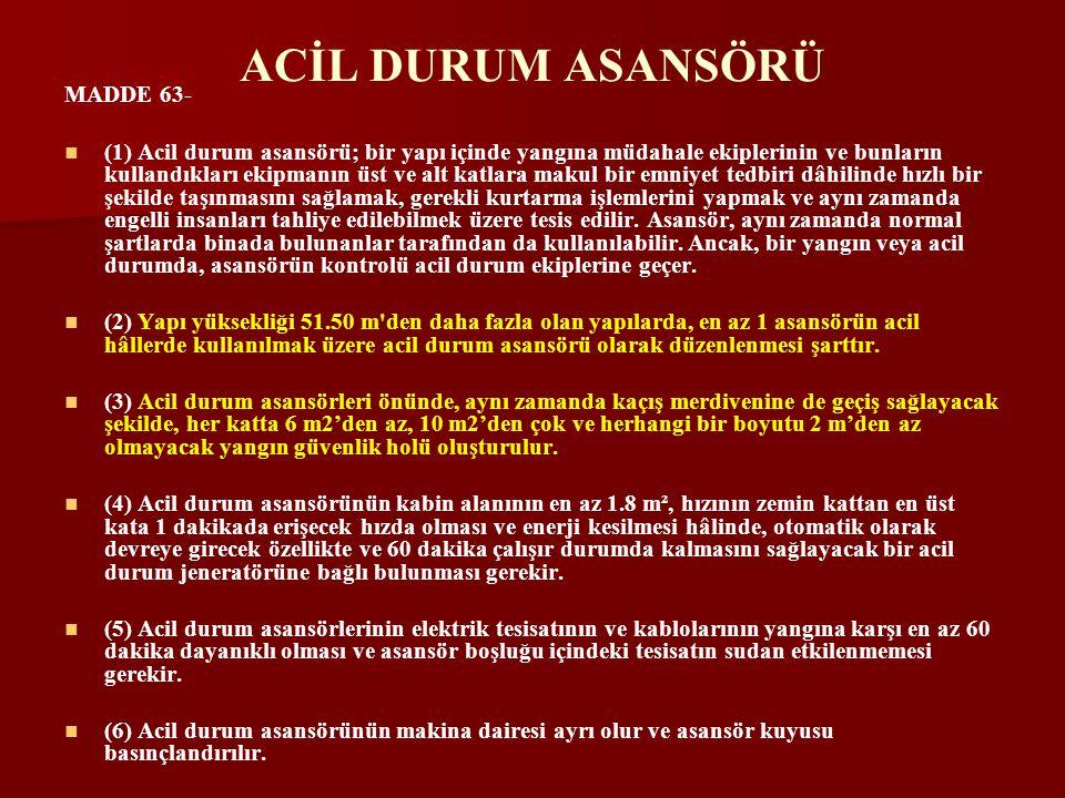 ACİL DURUM ASANSÖRÜ MADDE 63-