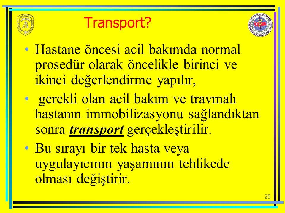 Transport Hastane öncesi acil bakımda normal prosedür olarak öncelikle birinci ve ikinci değerlendirme yapılır,