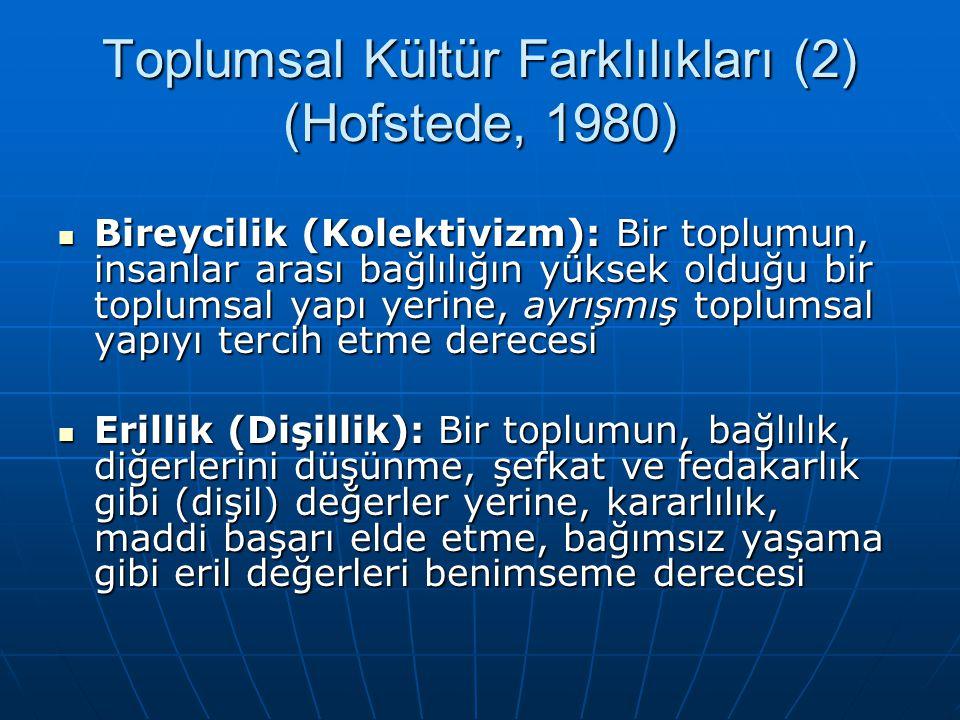 Toplumsal Kültür Farklılıkları (2) (Hofstede, 1980)