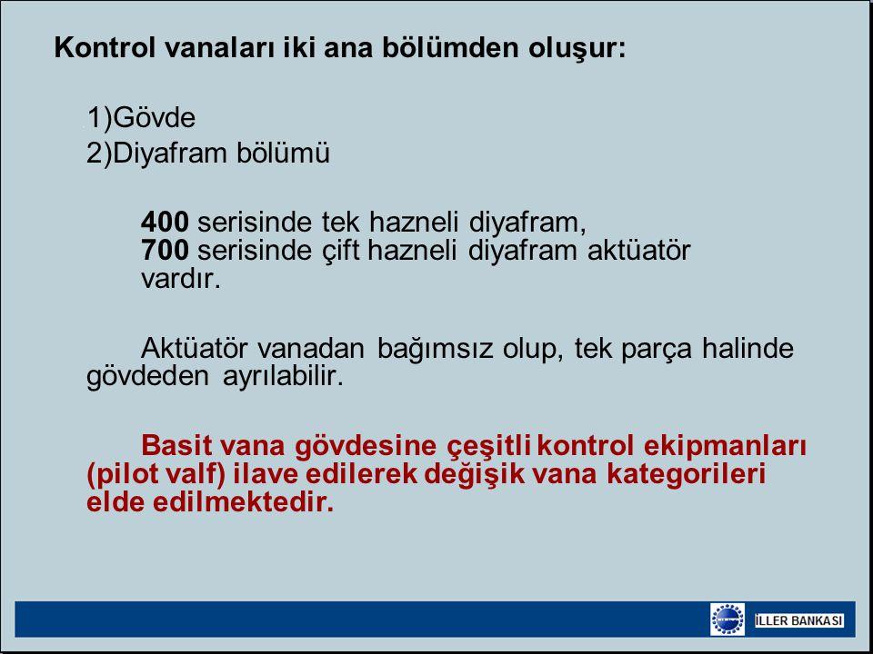 Kontrol vanaları iki ana bölümden oluşur:
