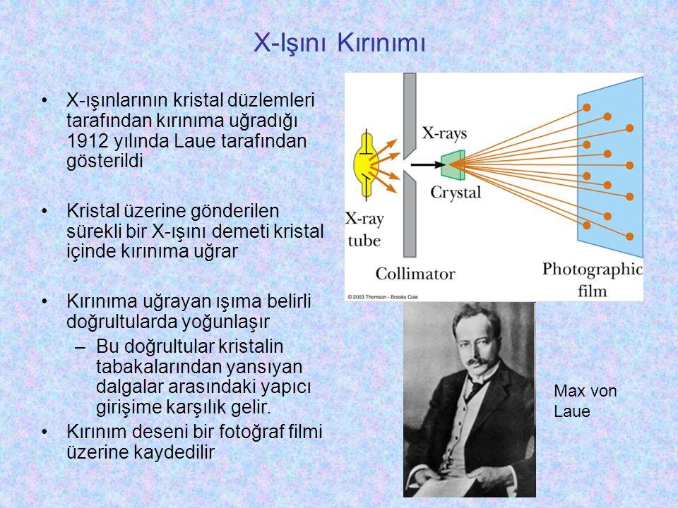 X-Işını Kırınımı X-ışınlarının kristal düzlemleri tarafından kırınıma uğradığı 1912 yılında Laue tarafından gösterildi.