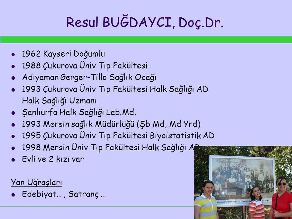 Resul BUĞDAYCI, Doç.Dr. 1962 Kayseri Doğumlu